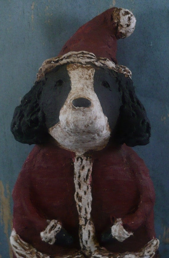 Springer Spaniel Santa Claus OOAK, hand sculpted from papier mache, SPRINGER SANTA