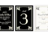 Art Nouveau Wine Labels - Printable DIGITAL file - Table Number - Art Deco