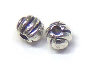 Lead Free Pewter Ribbed Round Beads   (EF0237)   SRA-D84