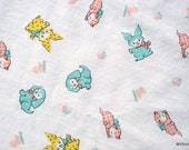 Vintage Baby Animal Fabric Dots Checks Infant Bed Cotton PERCALE Sheet Dog Cat Bunny