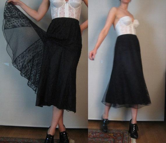 Vtg '80s LACE FLUTED Romantic Goth Black Midi Skirt xs Small Medium