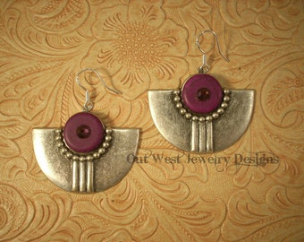 Rodeo Cowgirl Purple Howlite Turquoise Southwest Style Earrings