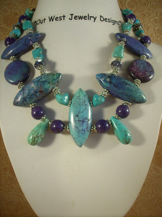 Chunky Cowgirl Necklace Set - Purple and Aqua Howlite Turquoise with Crystal