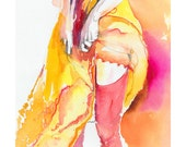 Archival Prints of Watercolor Sketch Fashion, Watercolor Prints, Fashion Illustration.  Red Stockings