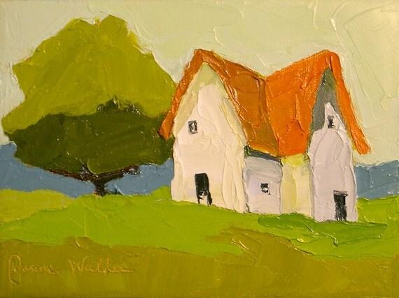 Farmhouse Simplicity- 6x8 Original on Canvas-  Farmhouse, Landscape