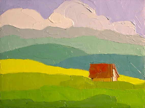 In the Valley- Oil Painting 6x8 Original-  Farmhouse, Landscape Painting