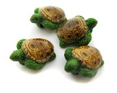 4 Medium Green and Tan Sea Turtle Beads