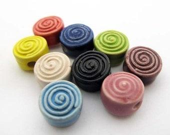 10 Tiny Ceramic Beads - Spiral - CB767