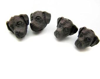 10 Tiny Brown Lab Head Beads - Peruvian Beads - Ceramic Beads - Animal Beads - dog head beads - Labrador dog beads - CB772