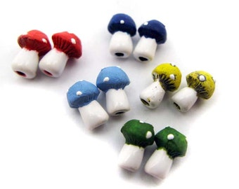 10 Tiny Ceramic Beads - Mixed Mushroom - CB204M
