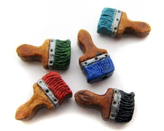 4 Tiny Paint Brush Beads - mixed colors