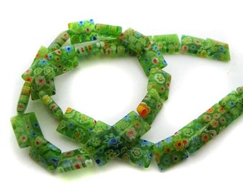 Green with Mixed Flowers Rectangle Millefiori Beads - CG116