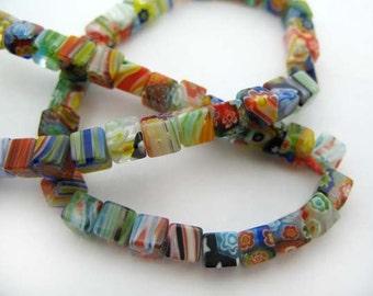 Small mixed cube Millefiori Beads - CG255