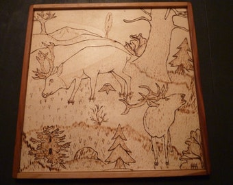 Signed Primitive Pyrographic Woodland Scene Red Buck Deer Framed