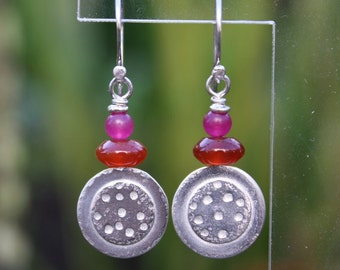 Silver Carnelian and Jade Dotty Earrings