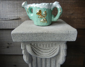 SALE! 50% OFF Seafoam Green and Gold Trim Pottery Watering Can with Drip Glaze