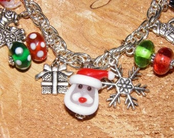Christmas Bracelet, Santa Claus Silver Charm Bracelet, Frosty and Rudolph the Red Nosed Reindeer, Lampwork Glass Christmas Jewelry, #6 OOAK,