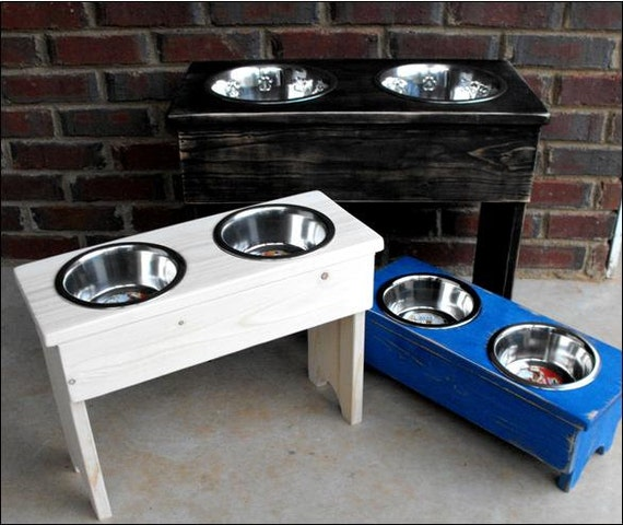 items similar to raised dog bowl shabby stand large 18. Black Bedroom Furniture Sets. Home Design Ideas