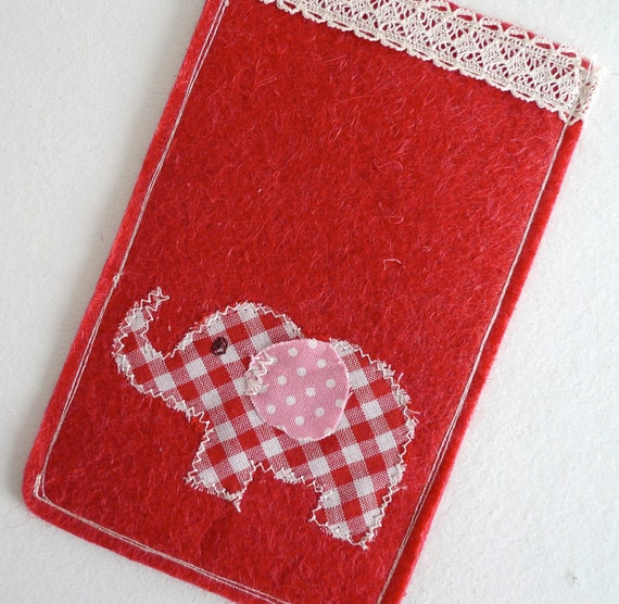 iPhone 4s, 4, 3g/ iPod/ Wool Felt Sleeves Pouch Case - Applique elephant