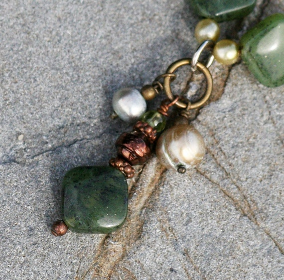 Bohemian Necklace, Spring Jewelry, Olive Green Jade, Natural Stone, Pearl, Beaded