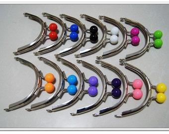 8CM  12 color bobbles half round Brushed silver purse frames