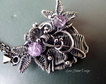 Wire Wrapped Necklace, Sterling Silver Pendant, Wire Pendant, Wire Sculpture, Handmade Jawelry, Flower Necklace With Amethyst Beads.