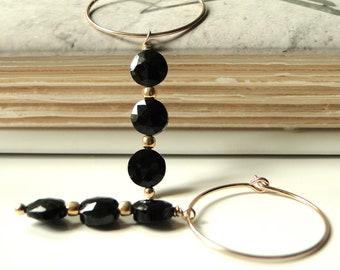 SALE Autumn Collection 14k Gold Hoop Earrings, Jewelry Earrings, Dangle Earrings, Earrings, Accessories, Black Onyx Earrings, Gift Box