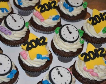 New Years Fondant Cupcake, Cake or Cookie Toppers- Edible- 1 DOZEN