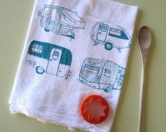 Tea Towel - Screen Printed Natural Cotton Flour Sack Towel - Handmade - Absorbent Kitchen Towel - Vintage Campers - Camping - Eco Friendly
