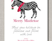 Christmas or Holiday Greeting Card, Merry Mistletoe, Set of 12 flat cards by Abigail Christine Design