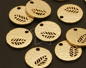 PD-467-MG / 4 Pcs - Mini Hammered Disc Pendant (Foliage), Matte Gold Plated over Brass / 11mm