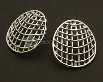 SI-305-MS / 2 Pcs - Net Shell Earrings, Matte Silver Plated, with .925 Sterling Silver Post / 23mm x 25mm