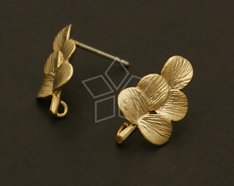 SI-200-MG / 2 Pcs - Grape Earring Findings, Matte Gold Plated over Brass Body with .925 Sterling Silver Post / 10mm x 16mm