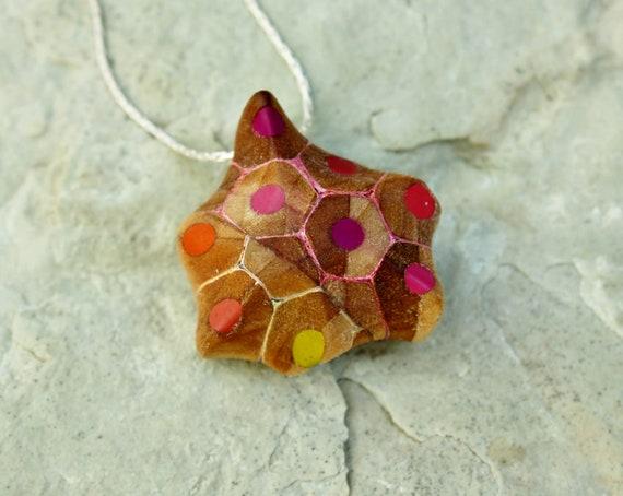 A star of coloured pencils - Necklace, Pencil, Silver