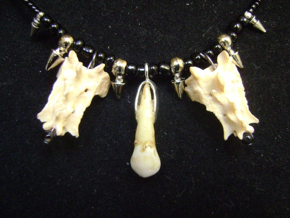 Human Tooth and Animal Bone necklace