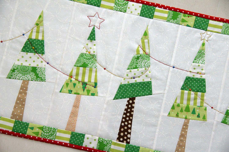 Festive Christmas Tree Table Runner PDF Pattern from