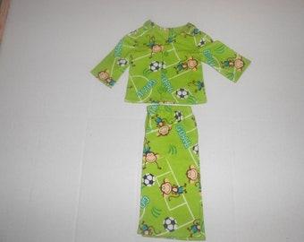 "Soccer monkey 2 piece Flannel pajamas fits 18""American girl dolls"