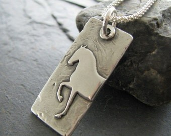 Personalized Horse Jewelry, Artisan PMC, Fine Silver Engraved Horse Pendant