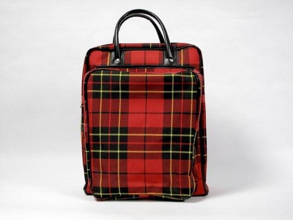Vintage Plaid Carry All, Tote, Laptop, Handbag, Zippered, Thermos / Picnic Bag, 1960's