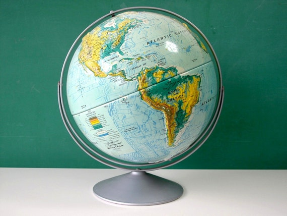 World Globe, Large 16 in. Diameter, Nystrom Sculptural Raised Relief Globe, Beautiful Colors