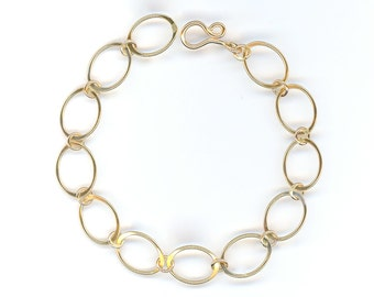 Chain Link Gold Oval Chain Bracelet Wire Bracelet Open Chain Bracelet Wire Jewelry Oval Chain Bracelet