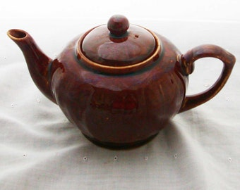 Vintage Chinese Brown Glaze Personal Teapot