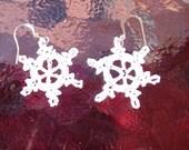 Crochet Christmas Snowflake Earrings
