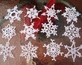 12 Beautiful Crocheted Snowflakes (B7)