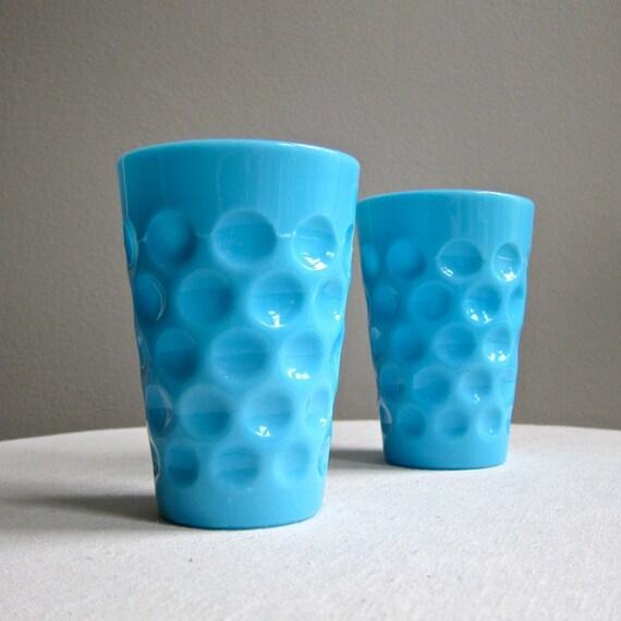 Two Blue Milk Glass Tumblers Thumbprint Pattern Drinking Glass 1950s