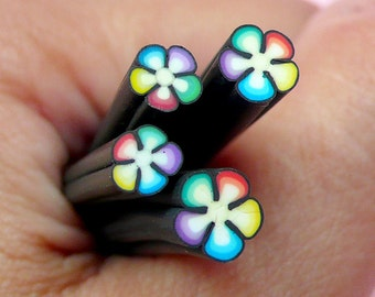 Black Flower Polymer Clay Cane Colorful Flower Fimo Cane for Miniature Sweets Decoration Nail Art Earring Making CFW068