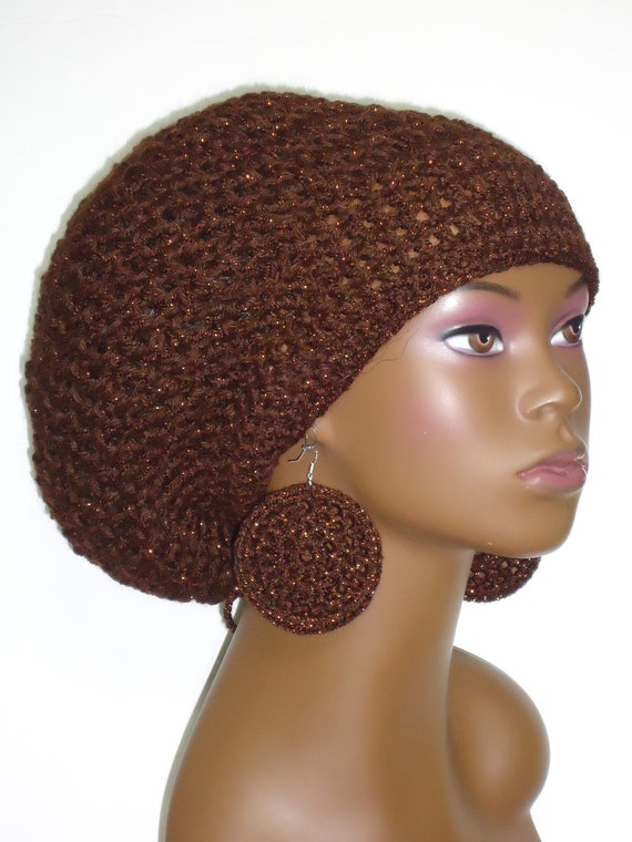 Copper Accented Crochet Rasta Tam with Earrings and Drawstring Brown