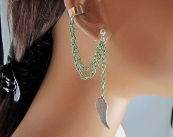 Angel Wing Ear Cuff Light Green Chains