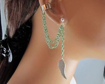 Angel Wing Ear Cuff Light Green Chains