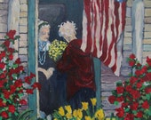 "Art Print of Original Acrylic Painting, ""Memorial Day"", Old Neighbors, American Flag, Garden, Flowers, Friends, Wall Art, Patty Fleckenstein"